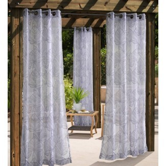 Panel de cortina simple de ojal para exteriores Bolton Leaf Nature Sheer