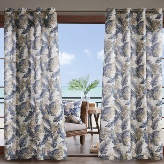 Swiger Leaf Flower Semi-Sheer Outdoor Grommet Panel de cortina individual