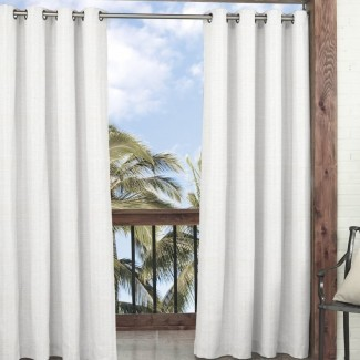 Key Largo Solid Semi-Sheer Panel de cortina simple de interior / exterior Grommet