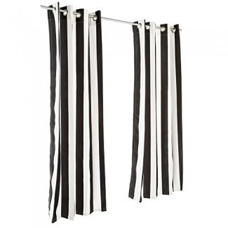 Pawleys Island Cabana Black Sunbrella Grommeted Outdoor Curtain