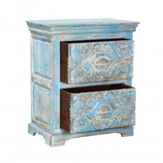 "Mesa de noche de almacenamiento de madera maciza, 2 cajones, azul claro, 30 "", Tánger, 30"""