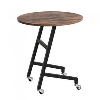 SONGMICS Mesa auxiliar industrial, Mesa auxiliar móvil para sala de estar, Muebles decorativos con aspecto de madera con marco de metal, Montaje fácil ULNT55X