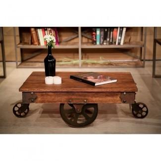 REZFurniture Mesa de centro vintage con ruedas   Wayfair