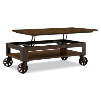 Gran mesa de centro rectangular de madera marrón oscuro con ...