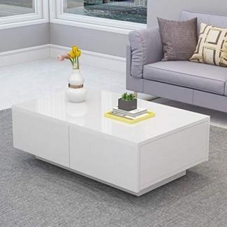 Cocoarm Modern White Glossy White Coffee Table, mesa de cóctel con 4 cajones traje para sala de estar, fácil montaje
