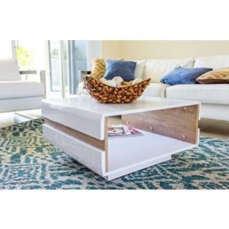 Mesa de centro de alto brillo blanco y roble Sonoma LETIS N Mesa de café