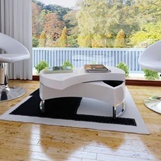 Mesa auxiliar de café blanco de alto brillo ajustable en forma