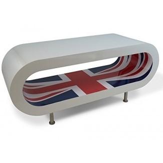 Zespoke Design Retro High Gloss White con Union Jack Inner Hoop Coffee Table / Tv Stand