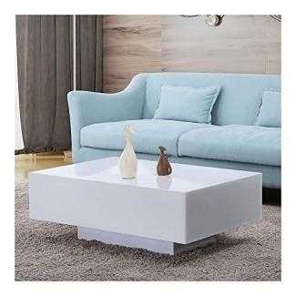 """33 """"Moderna mesa de café blanca de alto brillo Mesa lateral lateral Muebles de sala de estar"""