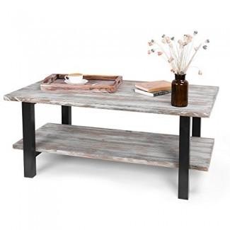 Mesa de centro industrial MyGift de 42 pulgadas de madera con antorcha con estante de almacenamiento