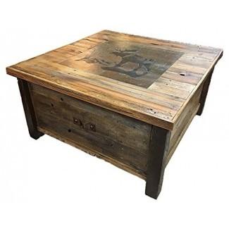 Auténtica mesa de centro de almacenamiento con manta de Barnwood con escena de mosaico personalizable