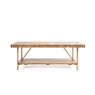 """Mesa de centro rústica de muebles Niangua - Buckboard Roble rojo - Patas de tubo de cobre y metal - 48 """"x 23"""""""