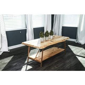 """Mesa de centro rústica Live Edge de Niangua Furniture - Madera de nogal - Patas de tubo de cobre y metal - 48 """"x 23"""""""