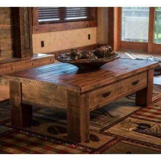 Mesa de centro Old Sawmill Barnwood con cajón