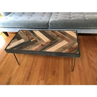 Mesita de madera barnwood recuperada - patrón Chevron