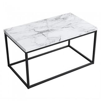 Mesa de centro con estampado de mármol blanco Roomfitters, versión mejorada resistente al agua, mesa de cóctel rectangular decorativa con marco de caja de metal negro