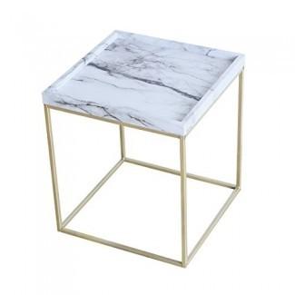 Tilly Lin Mesa decorativa de mármol moderno con acento falso, oro Le Mesa auxiliar gs, para sala de estar, dormitorio, marco de metal negro, Carrara
