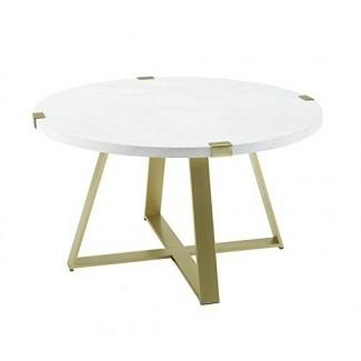 Home Living Room Modern Round Coffee Mesa con base de metal en forma de X - Mármol blanco imitación / oro