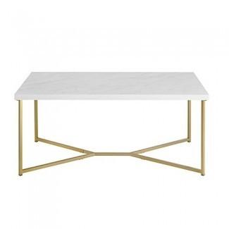 Mesa de centro rectangular pemberly row en imitación mármol blanco y oro