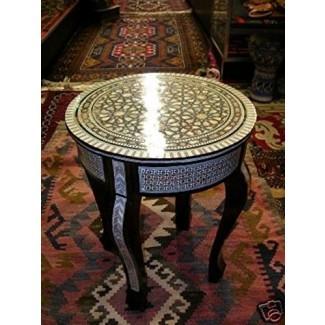 Mesa redonda de café artesanal de madera incrustada marroquí egipcia marroquí