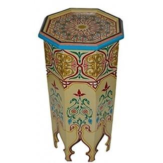 Mesa de centro lateral de madera marroquí Esquina Café Café hecho a mano pintado a mano Moorish Beige