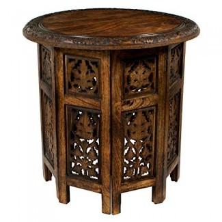 Cotton Craft - Jaipur - Mesa de centro plegable, decorativa, tallada, hecha a mano, de madera maciza - Marrón antiguo - Tapa redonda de 18 pulgadas x 18 pulgadas de alto