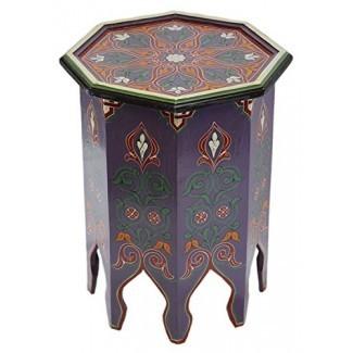 Mesa de madera hecha a mano marroquí Moucharabi Delicada mano pintada de púrpura exquisita