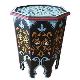 Mesa lateral de madera marroquí, esquina, café, hecho a mano, negro morisco