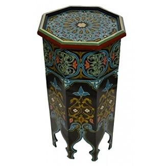 Mesa auxiliar lateral de madera marroquí Esquina Café Hecho a mano pintado a mano Moro Alto Negro