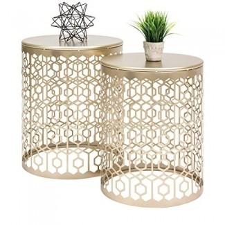 Mesas de acento anidadas redondas Best Choice Products, Mesitas de noche decorativas con detalles geométricos, mesas laterales y finales - Juego de 2 - Oro