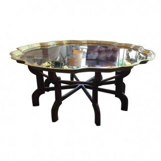 Mesa de centro vintage marroquí de latón y madera | Chairish