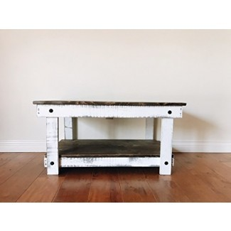 Mesa de centro rústica artesanal reciclada - Autoensamblaje - Natural y blanco - 36x24x18