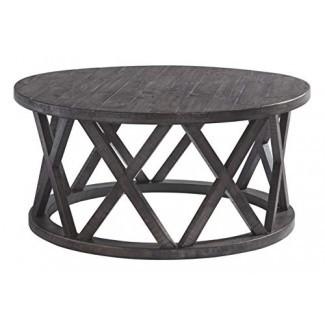 Diseño exclusivo de Ashley T711-8 Sharzane Mesa de cóctel redonda Marrón grisáceo