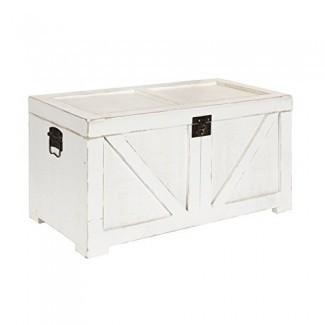 Kate y Laurel 213061 Cates Farmhouse baúl de madera decorativo 14x27. 5x14 Blanco