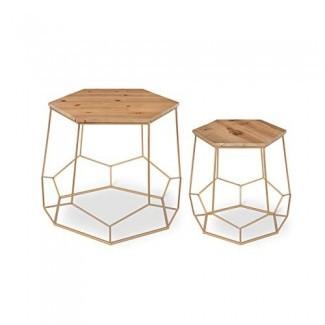 Kate y Laurel Gada Mesas laterales decorativas rústicas y modernas de 2 piezas Base metálica dorada geométrica con tapa de madera natural