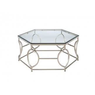 VIVIENDAS: Inside + Out ioHOMES Marilyn Geometric Coffee Table, Chrome