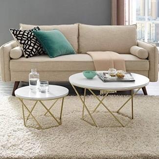 Nuevas mesas de café con anidamiento geométrico en acabado de mármol de imitación con marco dorado