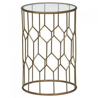 "Rivet Geometric Modern Glass and Metal End Table, 15.6 ""An., Acabado dorado"