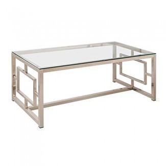 Mesa de centro Coaster Furniture con tapa de cristal y níquel satinado
