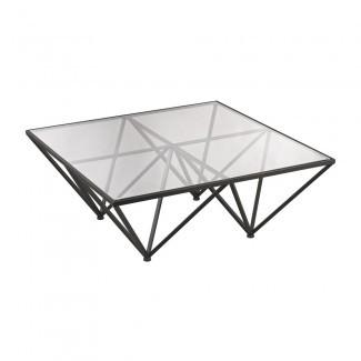 Mesa de centro geométrica de vidrio con base de metal de bronce oscuro
