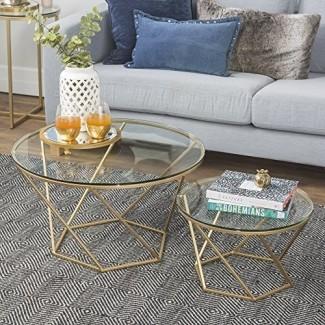 Nuevas mesas de café nido de vidrio geométrico en oro