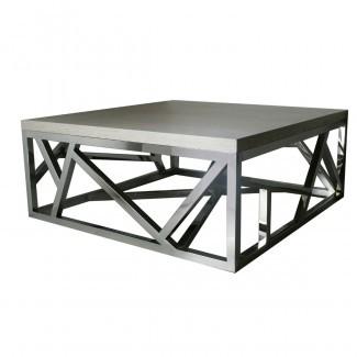 Mesa de centro geométrica de acero inoxidable - Isabelina
