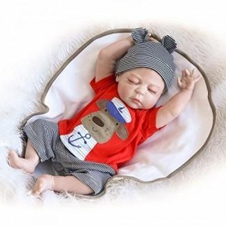 NPK Reborn Baby Doll Muñeca recién nacida 22 pulgadas 55cm Magnética Realista Realista Bebé encantador Muñeca para dormir completa Silicona Lavable Niño y niña Juguetes para niños mayores de 3 años Juegos de regalo