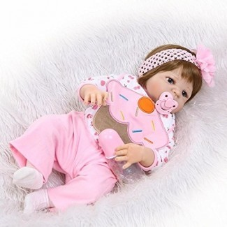 iCradle Realistic Looking Newborn Dolls 23 Inch 57cm Full Body Soft Silicone Vinyl Reborn Baby Girl Doll Toddler Toy Anatomically Correct Children Christmas Birthday Gift