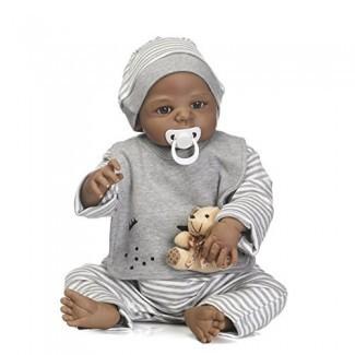 """Reborn Baby Dolls African American Boy Cuerpo de silicona completo 22 """"Muñeca negra realista Muñeca de juguete lavable hecha a mano"""