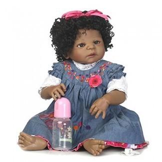 SCDOLL African American Reborn Baby Dolls Cuerpo completo de silicona Realista Muñecas recién nacidas realistas Niña negra en vestido de mezclilla 22 pulgadas 56 cm