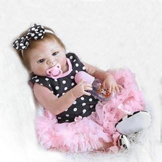 Cuerpo de silicona de vinilo completo de Funny House 18 en 45 cm Realista realista Reborn Baby Cute Girl Doll Recién nacido Girl Dolls Magnet Chupete Regalo de Navidad