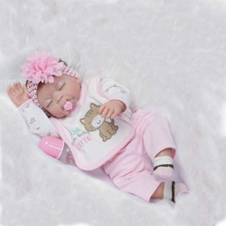 "Funny House 2017 Nuevo 22 ""55cm Full Vinyl Silicone Body Realista Reborn Baby Doll Realistic Soft Newborn Dolls Girl Magnet Pacifier"