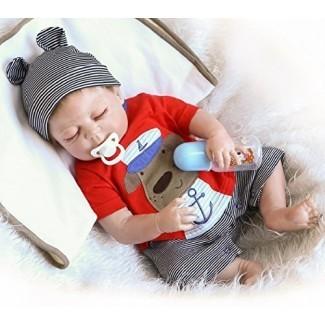 """NPK 22 """"Reborn Baby Dolls boy Full Silicone Body Muñeca de juguete realista realista Muñeca hecha a mano Conjunto rojo de regalo anatómicamente correcto Set para mayores de 3 años"""