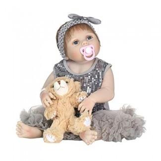 Forgun 22in Recién nacido realista de silicona completa Baby Doll-Grey Lentejuelas Vestido de malla Brown Bear Bow Diadema Juguetes para la primera infancia